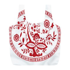 Red Vintage Floral Flowers Decorative Pattern Full Print Recycle Bags (L)