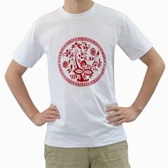 Red Vintage Floral Flowers Decorative Pattern Men s T-Shirt (White)
