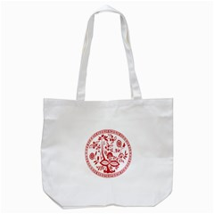 Red Vintage Floral Flowers Decorative Pattern Tote Bag (White)