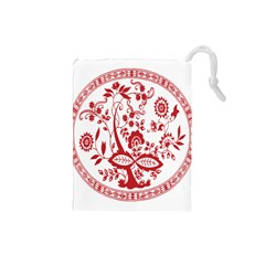 Red Vintage Floral Flowers Decorative Pattern Drawstring Pouches (small)