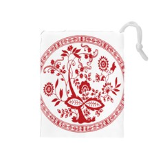 Red Vintage Floral Flowers Decorative Pattern Drawstring Pouches (Medium)