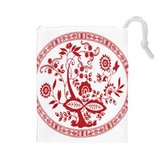 Red Vintage Floral Flowers Decorative Pattern Drawstring Pouches (large)