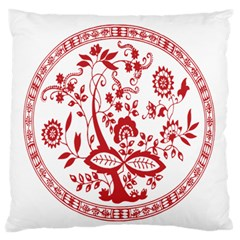 Red Vintage Floral Flowers Decorative Pattern Standard Flano Cushion Case (One Side)