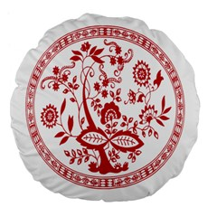 Red Vintage Floral Flowers Decorative Pattern Large 18  Premium Flano Round Cushions