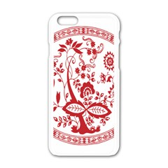 Red Vintage Floral Flowers Decorative Pattern Apple iPhone 6/6S White Enamel Case
