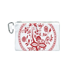 Red Vintage Floral Flowers Decorative Pattern Canvas Cosmetic Bag (S)