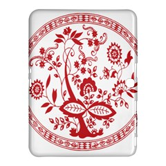 Red Vintage Floral Flowers Decorative Pattern Samsung Galaxy Tab 4 (10.1 ) Hardshell Case