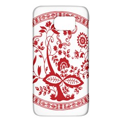 Red Vintage Floral Flowers Decorative Pattern Galaxy S6