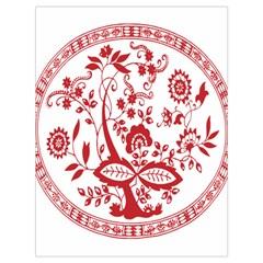 Red Vintage Floral Flowers Decorative Pattern Drawstring Bag (large)