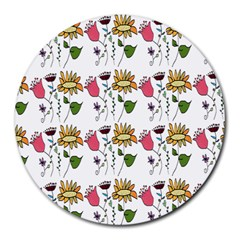 Handmade Pattern With Crazy Flowers Round Mousepads