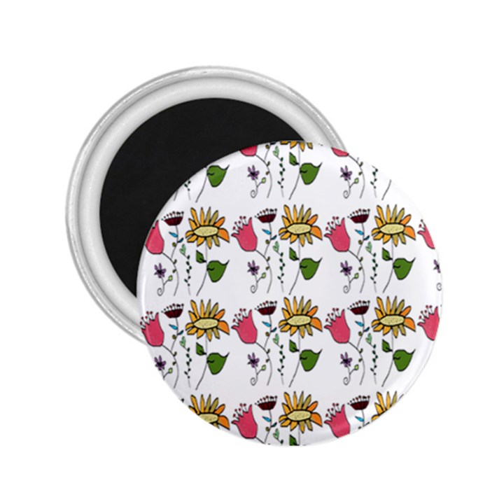 Handmade Pattern With Crazy Flowers 2.25  Magnets