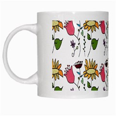 Handmade Pattern With Crazy Flowers White Mugs