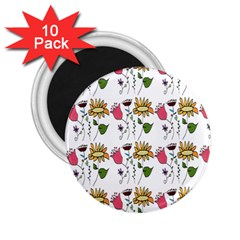 Handmade Pattern With Crazy Flowers 2 25  Magnets (10 Pack)
