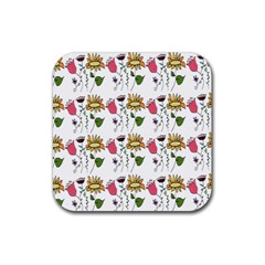 Handmade Pattern With Crazy Flowers Rubber Square Coaster (4 Pack)