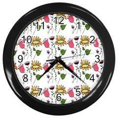 Handmade Pattern With Crazy Flowers Wall Clocks (Black)