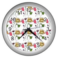 Handmade Pattern With Crazy Flowers Wall Clocks (silver)