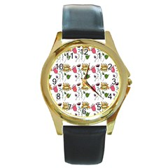 Handmade Pattern With Crazy Flowers Round Gold Metal Watch