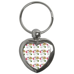 Handmade Pattern With Crazy Flowers Key Chains (Heart)