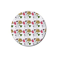 Handmade Pattern With Crazy Flowers Rubber Round Coaster (4 Pack)