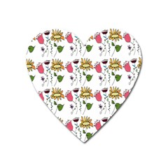 Handmade Pattern With Crazy Flowers Heart Magnet