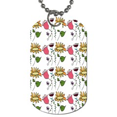 Handmade Pattern With Crazy Flowers Dog Tag (Two Sides)