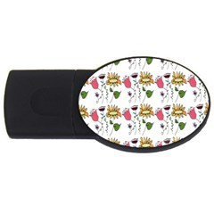 Handmade Pattern With Crazy Flowers USB Flash Drive Oval (2 GB)