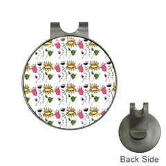 Handmade Pattern With Crazy Flowers Hat Clips with Golf Markers