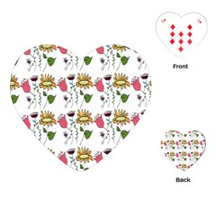 Handmade Pattern With Crazy Flowers Playing Cards (heart)