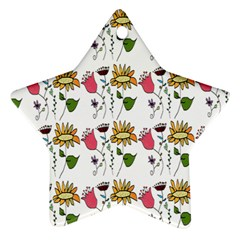 Handmade Pattern With Crazy Flowers Star Ornament (two Sides)