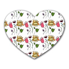 Handmade Pattern With Crazy Flowers Heart Mousepads