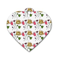Handmade Pattern With Crazy Flowers Dog Tag Heart (One Side)