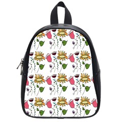 Handmade Pattern With Crazy Flowers School Bags (small)