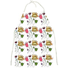 Handmade Pattern With Crazy Flowers Full Print Aprons