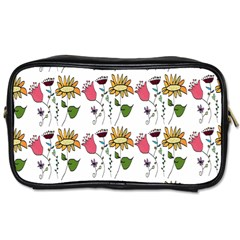 Handmade Pattern With Crazy Flowers Toiletries Bags 2-Side