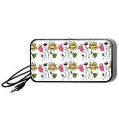 Handmade Pattern With Crazy Flowers Portable Speaker (Black)