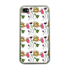 Handmade Pattern With Crazy Flowers Apple iPhone 4 Case (Clear)