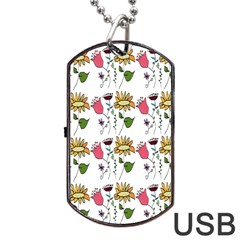Handmade Pattern With Crazy Flowers Dog Tag USB Flash (One Side)