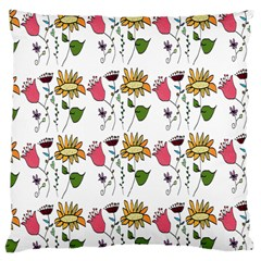 Handmade Pattern With Crazy Flowers Large Cushion Case (Two Sides)