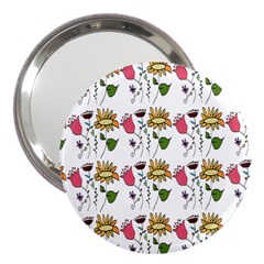 Handmade Pattern With Crazy Flowers 3  Handbag Mirrors
