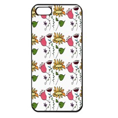 Handmade Pattern With Crazy Flowers Apple iPhone 5 Seamless Case (Black)