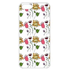 Handmade Pattern With Crazy Flowers Apple iPhone 5 Seamless Case (White)
