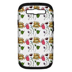 Handmade Pattern With Crazy Flowers Samsung Galaxy S III Hardshell Case (PC+Silicone)