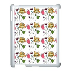 Handmade Pattern With Crazy Flowers Apple iPad 3/4 Case (White)