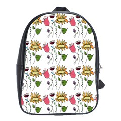 Handmade Pattern With Crazy Flowers School Bags (XL)