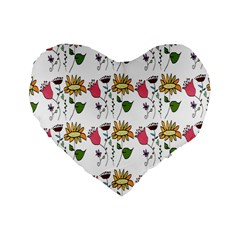 Handmade Pattern With Crazy Flowers Standard 16  Premium Heart Shape Cushions