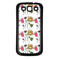 Handmade Pattern With Crazy Flowers Samsung Galaxy S3 Back Case (Black)
