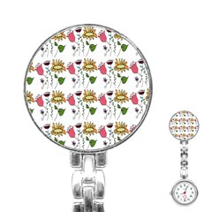 Handmade Pattern With Crazy Flowers Stainless Steel Nurses Watch