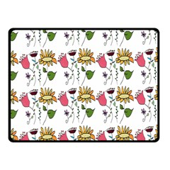 Handmade Pattern With Crazy Flowers Double Sided Fleece Blanket (Small)