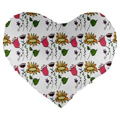 Handmade Pattern With Crazy Flowers Large 19  Premium Flano Heart Shape Cushions