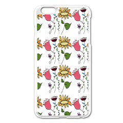Handmade Pattern With Crazy Flowers Apple iPhone 6 Plus/6S Plus Enamel White Case